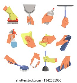 Housekeeping hands cleaning tools and means cleaning and household vector brush and scoop dishwashing liquid window cleaner sprayer and cloth sponge and air freshener soap and plunger clean powder