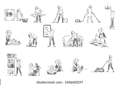 Housekeeping, household chores concept sketch. Young woman doing housework, mopping floor, vacuum cleaning, washing dishes, cooking food, housewife, housekeeper work set. Isolated vector illustration
