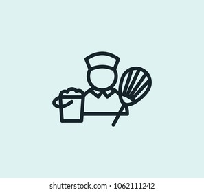 Housekeeping icon line isolated on clean background. Housekeeping icon concept drawing icon line in modern style. Vector illustration for your web site mobile logo app UI design.
