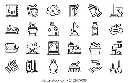 Housekeeping icons set. Outline set of housekeeping vector icons for web design isolated on white background