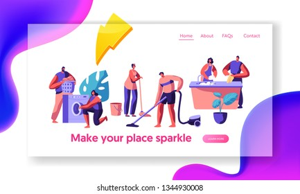 Housekeeping and Routine Landing Page. Scrubwoman and Man Cleaning Dirty Clothes, Floor. Chores Domestic, Working with Electronic Machine Website or Web Page. Flat Cartoon Vector Illustration