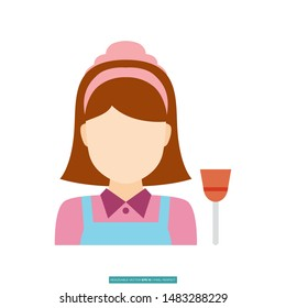 Housemaid avatar icon vector illustration logo template for many purpose
