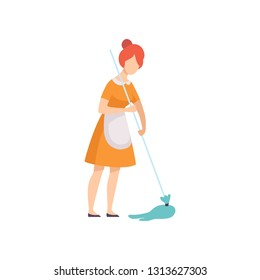 Housemaid Mopping Floor, Housewife Character Wearing Uniform with Mop Vector Illustration