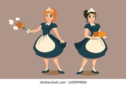 Housemaids with duster and stack of linen or towels. Happy young girls in black maid uniform. Female housekeepers in hotel or luxury house, cleaning service. Cartoon characters vector illustration