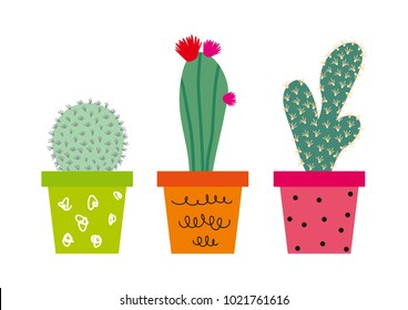 Houseplant. Prickly green cactuses in ?ute flowerpots. Cactus with flowers. Pot plants. Cute vector cactus. Hand drawn cactus.