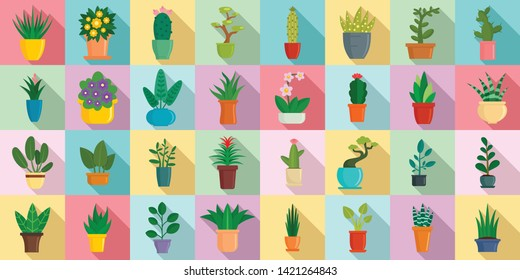 Houseplants icons set. Flat set of houseplants vector icons for web design