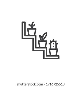 Houseplants on shelf line icon. linear style sign for mobile concept and web design. Decorative Shelf with plants outline vector icon. Symbol, logo illustration. Vector graphics