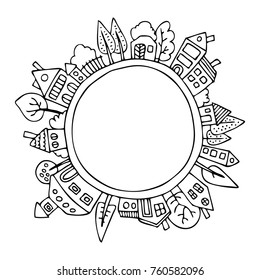 The houses around planet Earth. Hand drawn picture. Sketch for anti-stress adult coloring book in zen-tangle style. Vector illustration  for coloring page.