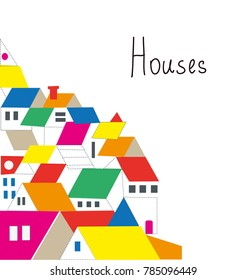 Houses background for estate stationery, vector graphic illustration