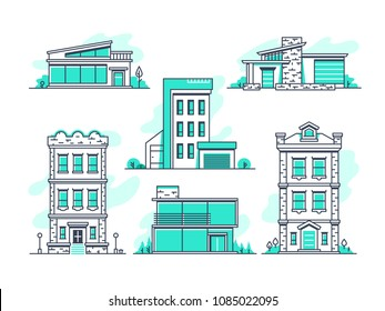 Houses and buildings property and accommodation line icons. Modern architecture outline symbos isolated. Home architecture, garage and housing, vector illustration