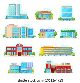 Houses and buildings vector icons. Isolated hospital, flower shop or city hall and post office or pharmacy, municipal school building and university or police and fire station