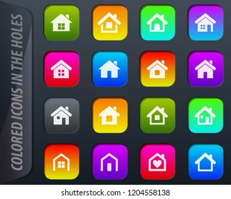 Houses colored icons in the holes easily adapt to any background