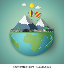 Houses, colorful hot airi balloons and mountain on hemisphere green world as business, nature, eco and love earth day concept. vector illustration of paper art and craft style.