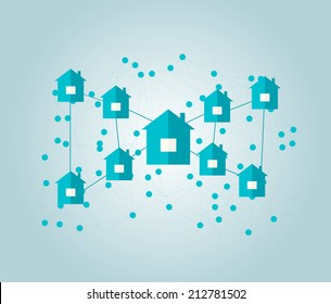 Houses connected in neighborhoods, vector illustration