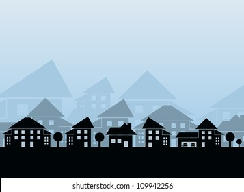 Houses different forms on blue background