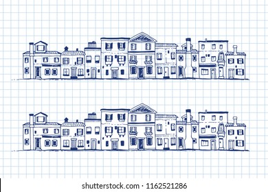Houses doodle, hand drawn vector set on note paper