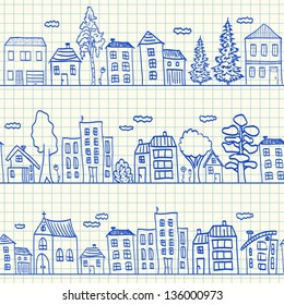 Houses doodles on school squared paper, seamless pattern