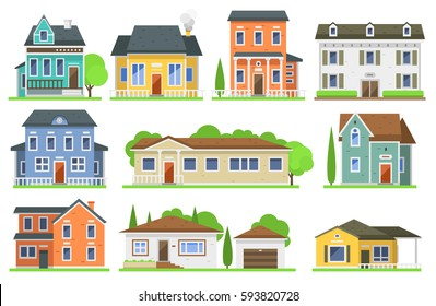 Houses exterior vector illustration front view with roof. Modern. Townhouse building apartment. Home facade with doors and windows.