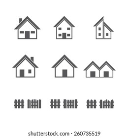 Houses and Fence icons set. Vector illustration