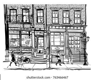 Houses in Greenwich Village New York City - vector illustration