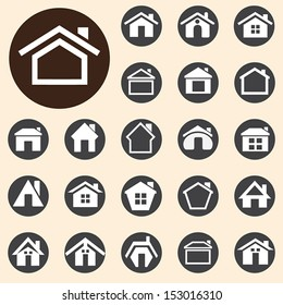 Houses icons set. A vector illustration