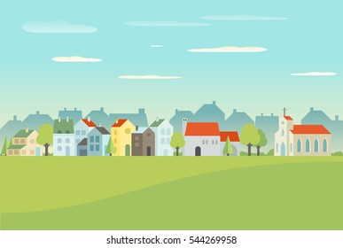 Houses illustration in flat design. Global Colors used
