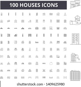 Houses line icons, signs, vector set, outline illustration concept
