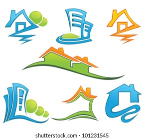 houses and office building, vector collection of symbols