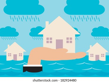 Houses on a flood plain, with a hand raising up the house in the foreground. A metaphor regarding home insurance and flood protection.