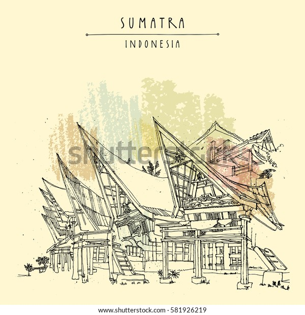 Houses on lake Toba, Sumatra, Indonesia, Asia. Unique traditional Batak tribal architecture. Travel sketch. Hand-drawn vintage book illustration, greeting card, postcard template in vector