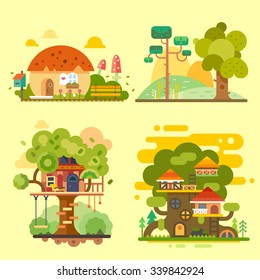 Houses on the tree, magic hut on a village, beautiful summer landscape. Flat vector illustration stock set.