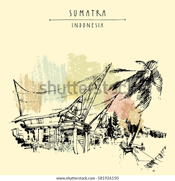 Houses and palm tree on lake Toba, Sumatra, Indonesia, Asia. Traditional Batak tribal architecture. Travel sketch. Hand-drawn vintage book illustration, greeting card, postcard, poster in vector