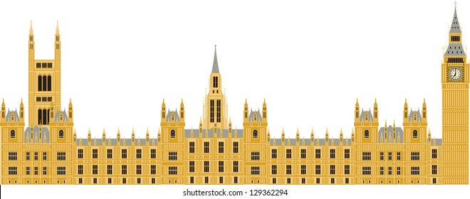 Houses of Parliament in London, vector