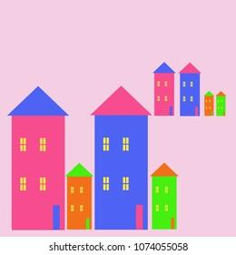 Houses   pattern, windows, doors, quadrangles, triangles.