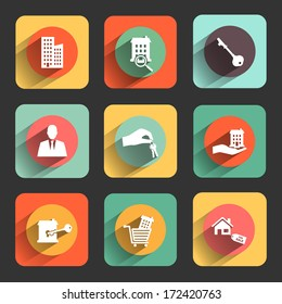 houses and real estate flat design icon set. template elements for web and mobile applications