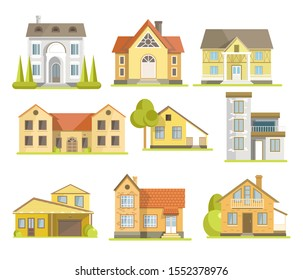 Houses, residential buildings of different styles, front view. Traditional suburban cottage, modern townhouse. Two or three story, with garage, windows and various roof shapes. Vector illustration.