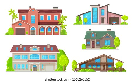 Houses and residential home buildings, reals estate icons. Vector exterior facades architecture of family homes, cottage houses or mansion apartments and villa, urban property with terraces