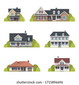 Houses set. Suburban American houses exterior flat design front view with roof and some trees. Collection of classic and modern American houses isolated on the white background. Vector Illustration