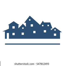 Houses silhouettes vector. Buildings logo.