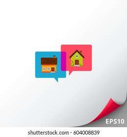 Houses in speech bubbles