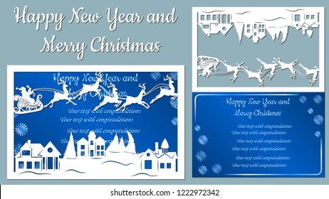 houses, spruce, wood, sleigh, reindeer. Vector. Plotter cutting. Cliche. The image with the inscription - merry Christmas. For laser cutting, plotter and silkscreen printing.