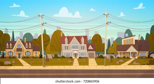 Houses In Suburb Of Big City In Summer, Cottage Real Estates Cute Town Concept Flat Vector Illustration