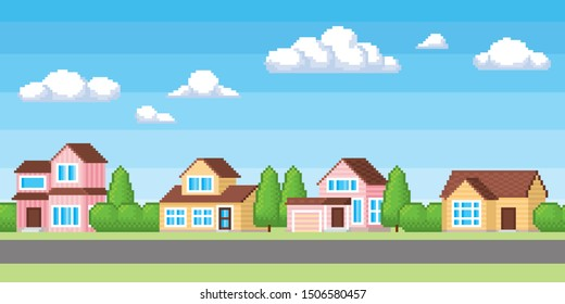 Houses in suburb neighborhood. Green park landscape with grass, trees, flowers and clouds. Horizontaly seamless background. 8-bit pixel art video game style.