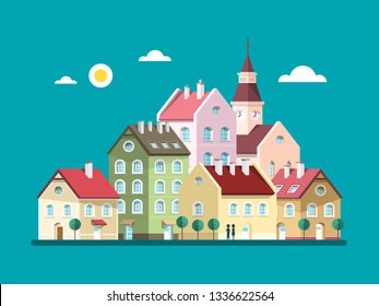 Houses - Vector Flat Design Buildings. Abstract Village or Town.