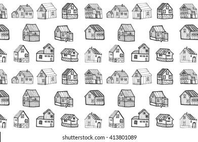 houses village outline pattern