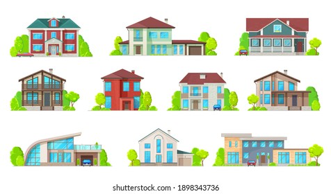 Houses, villas and mansion real estate building icons. Luxury bungalow, modern cottage and contemporary house buildings facade with porch, pitched roof and garage flat vector. Suburban townhouse