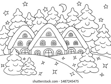 Houses in the winter snow spruce forest - coloring page for children and adults