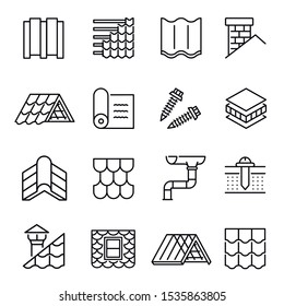 Housetop construction materials linear vector icons set. Roof installation and repairing outline symbols. Imbrex, drain pipe, nails and chimney contour drawings collection isolated on white background