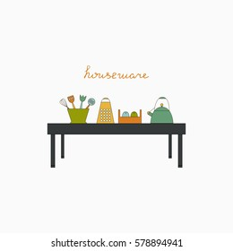 Houseware color elements. Kichen vector illustration.