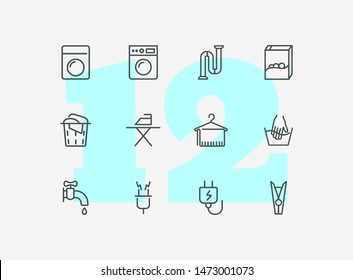 Houseware line icon set. Set of line icons on white background. Iron, electricity, washing machine. Household concept. Vector illustration can be used for topics like house, home, technics